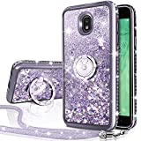 Galaxy J3 2018/J3 Star/J3 Achieve/Express Prime 3/Amp Prime 3 Case, Silverback Girls Women Moving Liquid Holographic Glitter Case with Ring Stand Bling Case for Samsung J3V J3 V 3nd Gen -Silver