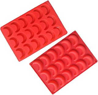 Xidmold Lot de 2 moules en silicone en forme de lune pour fondant ou chocolat