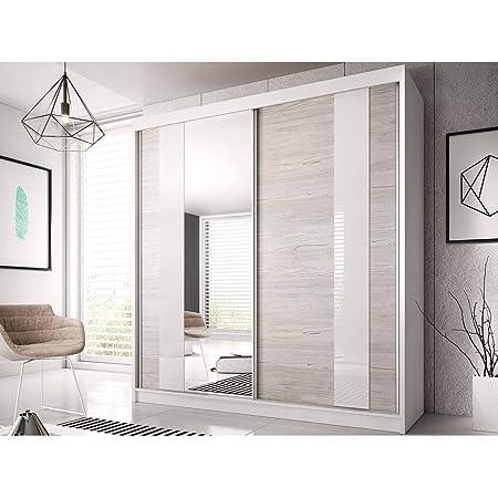 E-MEUBLES Armoire de Chambre avec 2 Portes coulissantes et Miroir | Penderie (Tringle) avec étagères (LxHxP): 183x218x61 Ben 32 (Blanc)
