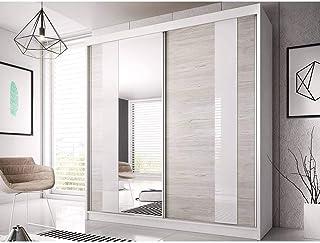 E-MEUBLES Armoire de Chambre avec 2 Portes coulissantes et Miroir | Penderie (Tringle) avec étagères (LxHxP): 183x218x61 B...