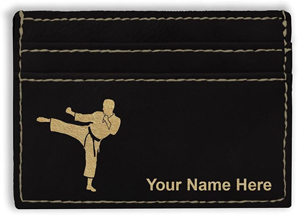 Money Clip Wallet, Karate Man, Personalized Engraving Included