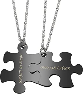 Free Engraving - Personalized Custom 2pcs Stainless Steel Jigsaw Matching Puzzle Piece Couple Pendant Necklaces for His and Her
