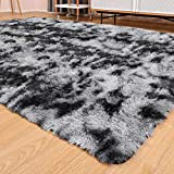 Ophanie Ultra Soft Fluffy Area Rugs for Living Room, Luxury Shag Rug Faux Fur Non-Slip Tie-Dyed Floor Carpet for Bedroom, Kids Room, Baby Room, Girls Room, and Nursery, 4x5.3 Feet Black/Grey