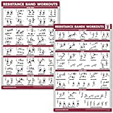QuickFit 2 Pack Resistance Bands Volume 1 & 2 Exercise Poster Set - Resistance Tubes Workout Charts (Laminated, 18' x 27')
