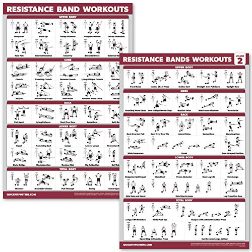 """QuickFit 2 Pack Resistance Bands Volume 1 & 2 Exercise Poster Set - Resistance Tubes Workout Charts (Laminated, 18"""" x 27"""")"""