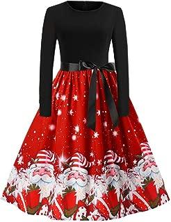 Franterd Christmas Women Dress Vintage Christmas Santa Claus Print Party Retro A-Line Swing Dress S-XXL