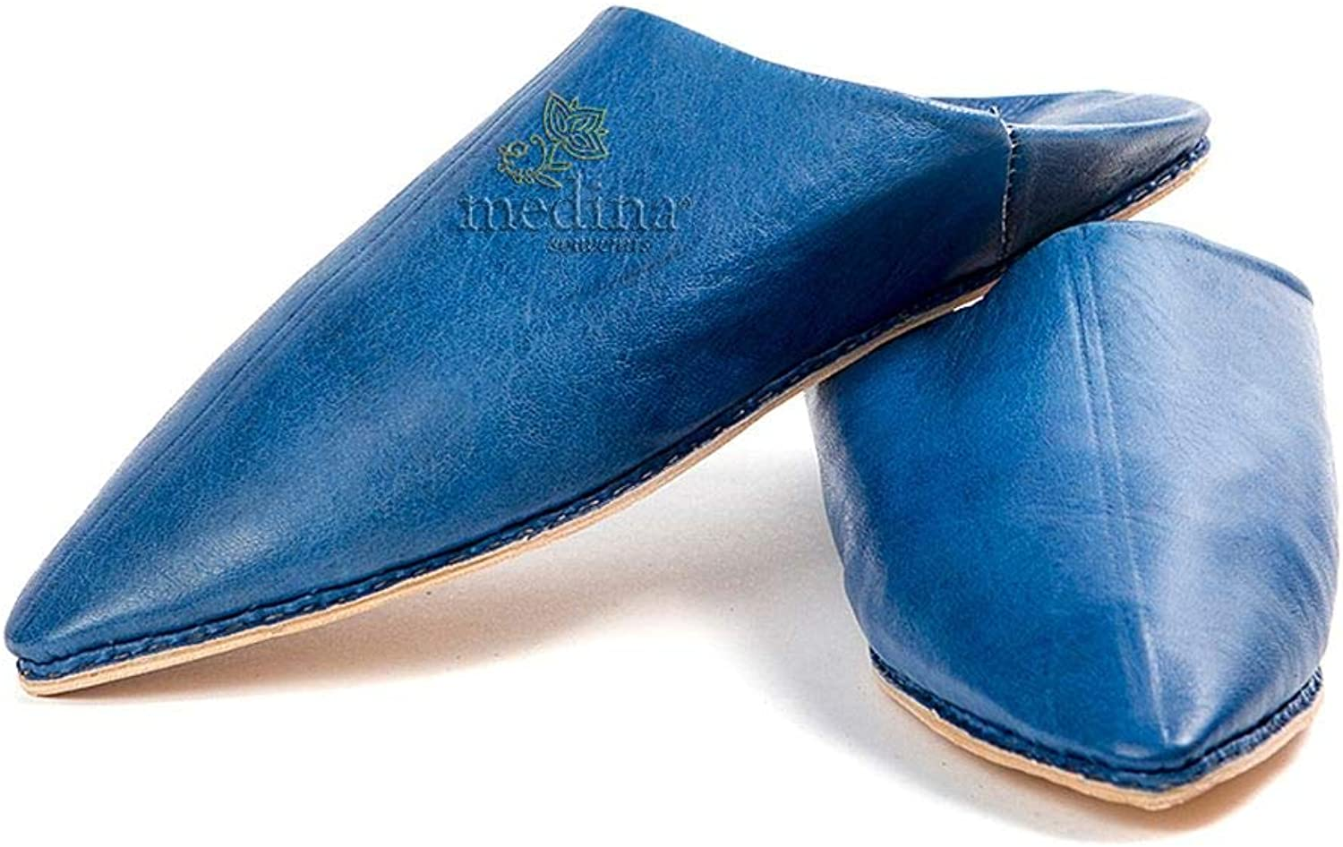 Medina Souvenirs Man and Woman Slipper Traditional bluee Jeans, Pointed Out Marrakech Babouche Slippers Stitched Hand