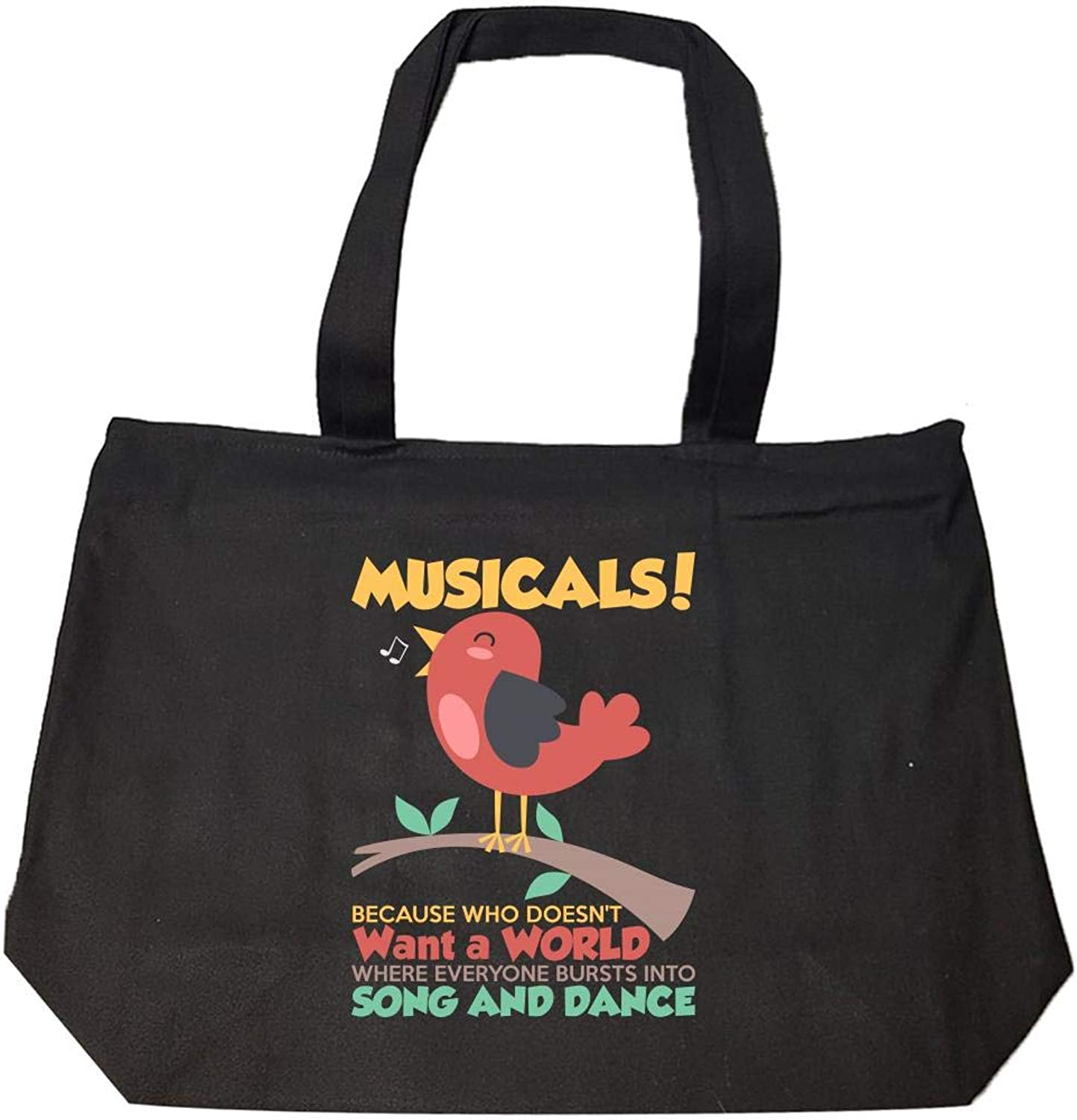 Funny Bird Song and Dance Musical Theater Novelty Gift  Fashion Zip Tote Bag
