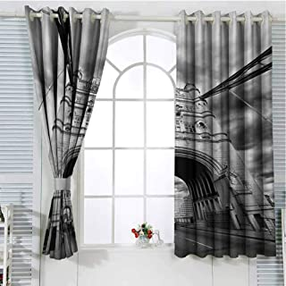 FreeKite Modern Living Room Curtains 2 Panel Sets Tower Bridge London England Urban Street Traffic European Historical Picture Home Decor Blackout Curtains W72 x L107 Inch Black and White