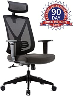 CLATINA Ergonomic High Mesh Swivel Executive Chair with Adjustable Height Head Arm Rest Lumbar Support and Upholstered Back for Home Office