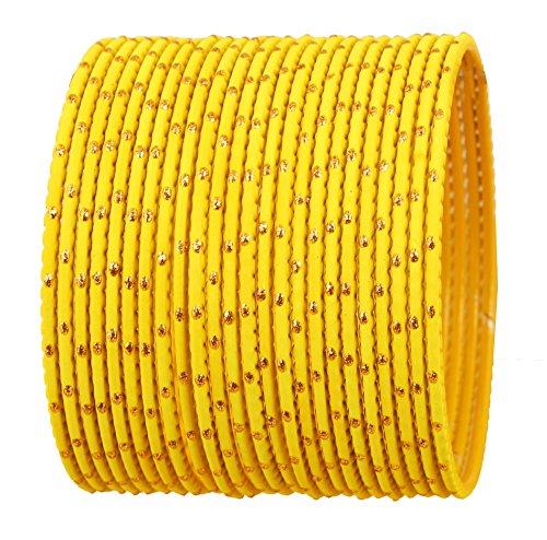 Touchstone Bunte Armreifsammlung indisches Bollywood exklusive spezielle Armreifarmbänder des Designerschmucks für Damen 2.62 Set 2 Gelb