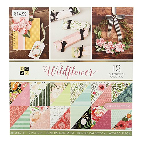 DCWV PS-005-00638 Wildflower Paper Stack, 12-x-12, Multicolor