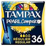 Tampax Compak Pearl Regular con Aplicador, el Mejor Tampón Tampax en Comodidad, Protección y Discreción, 36 Unidades