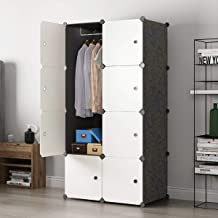 Cube Wardrobe Cloth Cabinet Closet DIY Modular Clogthing Storage Organizer 5 Cubes 1 Hanging Section Portable Sturdy Extra Space Durable Black for Bedroom