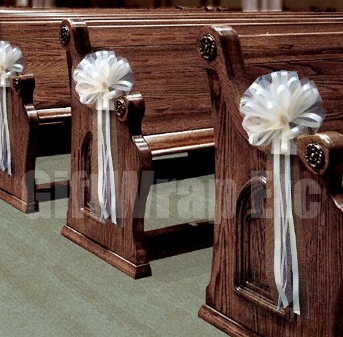 """Wedding Aisle Decorations - Ivory Tulle Wedding Pull Bows for Church Pews - 9"""" Wide, Set of 4"""