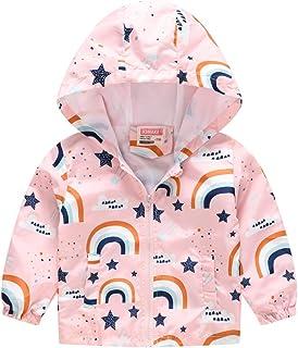 TUIJI Toddler Boys Girls Cartoon Print Zip Jacket Hooded Trench Lightweight Kids Coats Windbreaker Casual Outerwear 4T 5T Pink(Style 14,130)