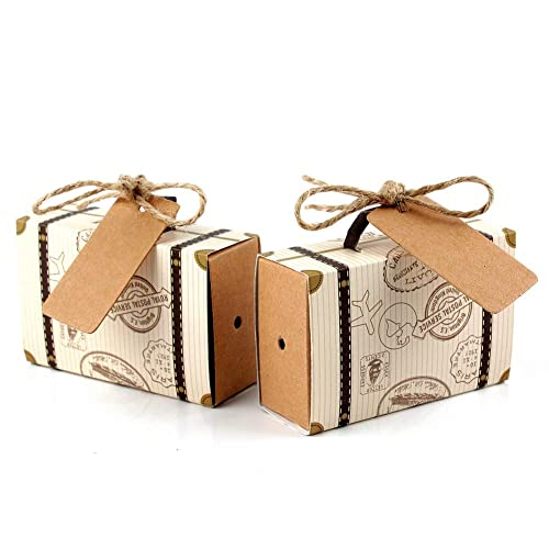 Hokic 50pcs Travel Suitcase Favor Boxes with Burlap Twine, Mini Vintage Kraft Candy Favor Boxes Gift Bags for Wedding Bridal Shower Travel Theme Party Supplies