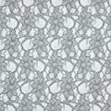 Fabulous Fabrics Spitze hellgrau, Blume, 147cm breit –