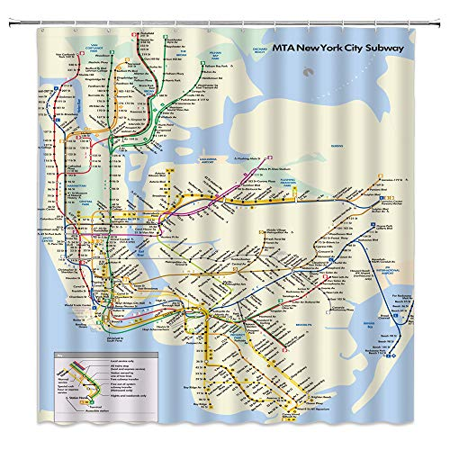 BOYIAN New York Subway Map Shower Curtain Decor Subway Line Indicator Map Digital Color Printing Blue Yellow Fabric Bath Curtains Bathroom Accessories Polyester with Plastic Hooks 70x70 Inch