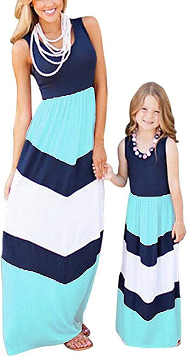 Astellarie Mommy and Me Matching Maxi Dress Summer Casual Sleeveless Boho Striped Chevron Dress for Family Photo Shoot (Mom US 8, 4-Blue+White)