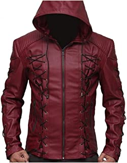 Arrow Arsenal red Hooded Colton Haynes Costume Faux Leather Jacket (XS)