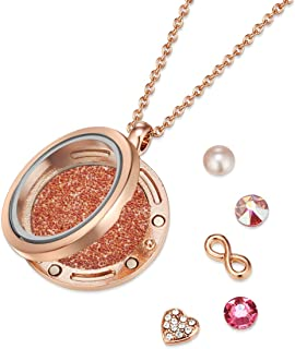 Mestige Rose Gold Infinity Floating Charm Necklace with Swarovski Crystals
