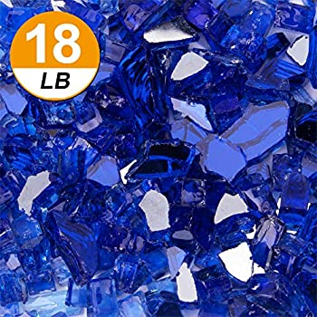 [18 Pound] Fire Glass – 1/2 Inch Reflective Tempered Fireglass with Fireplace Glass and Fire Pit Glass Cobalt Blue Reflective  Blue