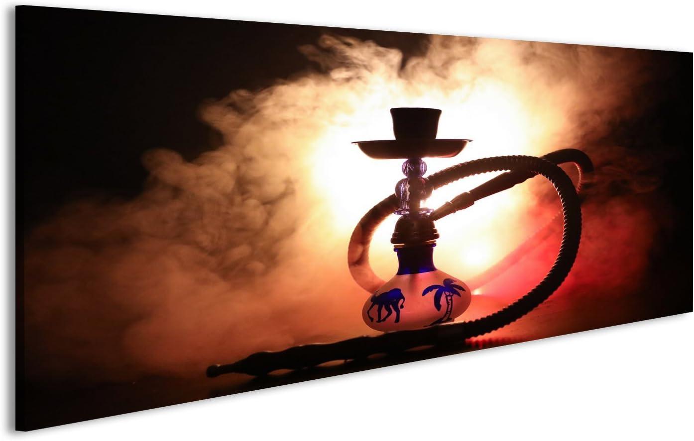 islandburner Cuadro Hookah brasas en el cuenco de shisha con fondo negro. Elegante shisha oriental Shisha Concept Impresión sobre lienzo - Formato Grande - Cuadros modernos JRR