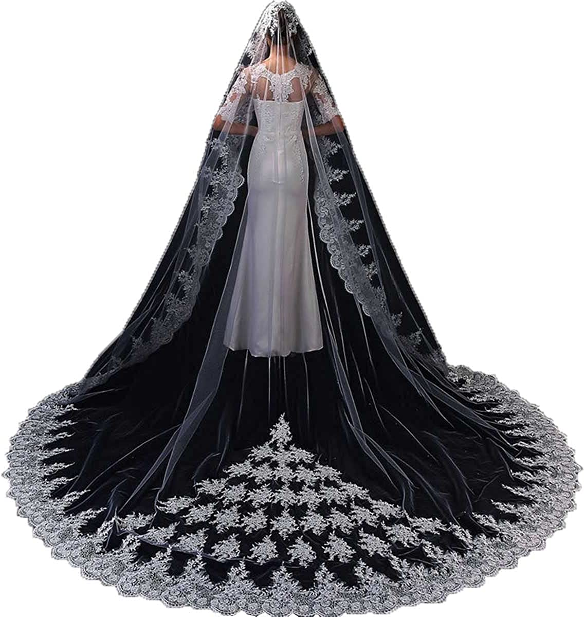 1T Gorgeous Lace Cathedral Veil Bridal Veil Chapel Length Applique Veil Women's Veil with Comb Tulle Veil for Wedding
