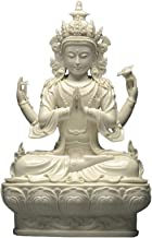 Meditating Buddha Statue, Ceramic Four-arm Guanyin Bodhisattva Ornaments, Home Furnishing Fengshui Town House Safe Craft D...