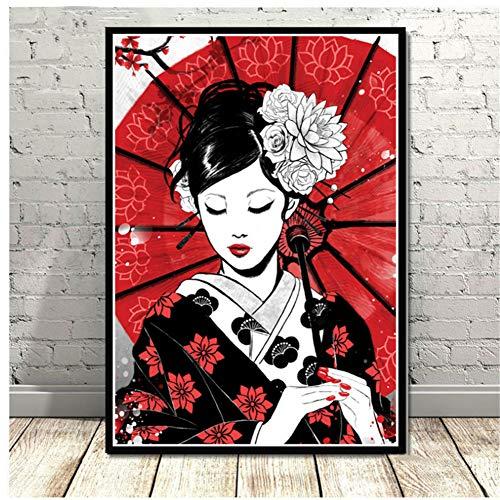 A&D Wohnkultur Drucke Malerei Bilder Wandkunst Ruby Geisha Japanischen Samurai Modular Nordic Leinwand Poster Moderne Nacht Hintergrund-50x70 cm Kein Rahmen