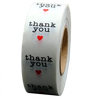 Hybsk Clear Circle Wafer Thank You Stickers with Red Heart 1 Inch Round 1,000 Adhesive Labels Per Roll