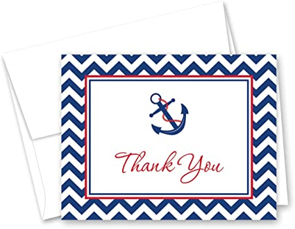 Navy Nautical Stationery Set of 6 cards and envelopes Masculine Stationery Red Anchor Nautical Stationery