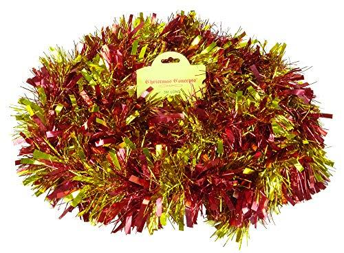Christmas Concepts 3m / 9.8ft Orpello di Natale Grosso/fine - Decorazioni Natalizie - Tinsel di Alta qualità (Strisce Rosse e Oro)