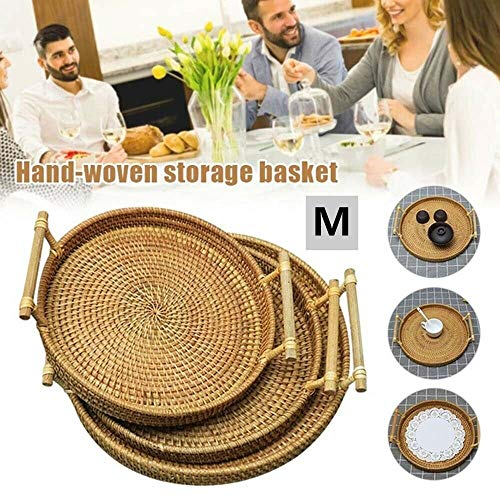 Rattan Woven Bread Basket Round Woven Cracker Tray, Rattan Serving Tray with Handles, Rustic Decorative Trays for Coffee Table, Platter for Dinner Parties Breakfast Home (M)