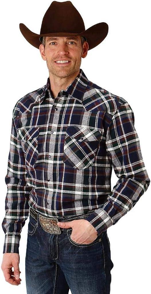 Roper Western Shirt Mens L/S Plaid Snap Green 03-001-0722-2685 GR