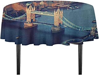 kangkaishi London Printed Tablecloth London Aerial View with Tower Bridge at Sunset Internatinal Big Old UK British River Outdoor and Indoor use D59.05 Inch Multicolor