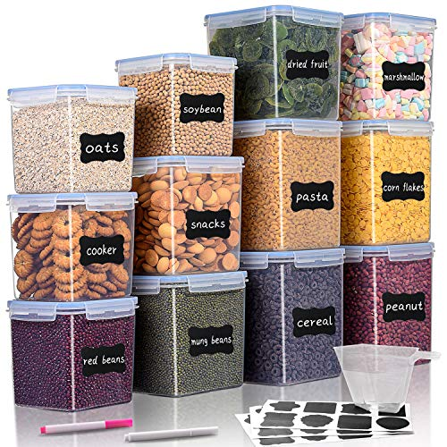Large Tall Airtight Food Storage Containers 12 Pieces, WUHUME BPA Free Plastic Kitchen Storage Containers for Flour, Sugar and Baking Supplies, with 1 Measuring Cup & 24 Labels & 2 Chalk Markers