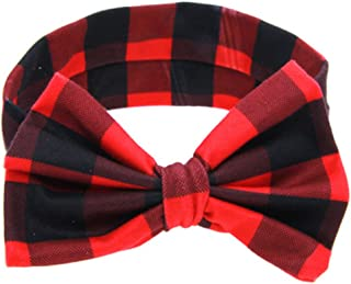 red and black plaid hair bow