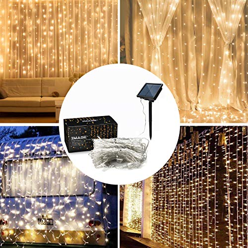 IMAGE Solar Curtain Lights 8 Modes 9.8x9.8 Feet Solar String Lights for Wedding Party Home Decoration Backdrops Full Waterproof UL Safety Standard Warm White
