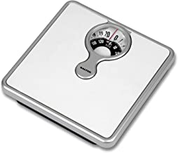 Salter Mechanical Bathroom Scales – Easy to Read Magnified Display for Weighing with Precision, Measure in St, lbs, Kg, Comfortable Cushioned Platform, No Batteries, Simple Step-on - White