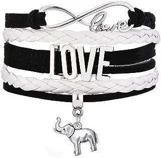 Infinity Love Multi-Layer Woven Elephant Charm Wrap Wistband Bracelet for Teen Girls