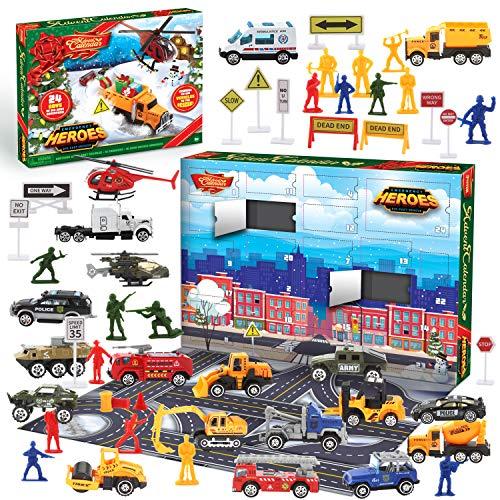JOYIN 2020 Advent Calendar Kids Christmas 24 Days Countdown Calendar Toys for Kids with Die-Cast Essential Vehicles