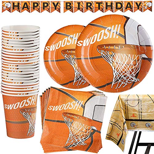 102 Piece Basketball Party Supplies Set Including Banner, Plates, Cups, Napkins, and Tablecloth, Serves 25