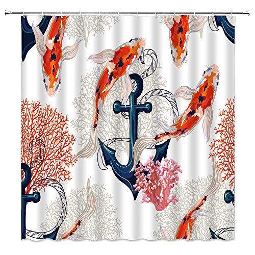 Cortina de ducha náutica ancla Kio Fish colorida coral vintage océano acuarela tela decoración del baño juego de cortina de baño de 178 x 178 cm con ganchos...