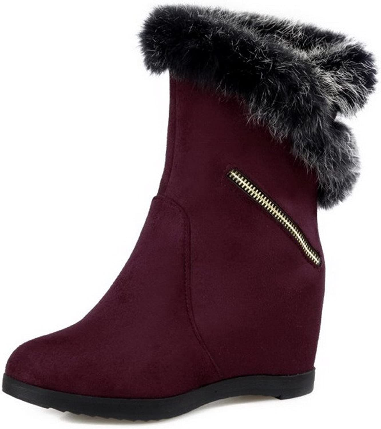 WeenFashion Women's Imitated Suede High-Heels Round-Toe Boots with Wedge and Metal Ornament