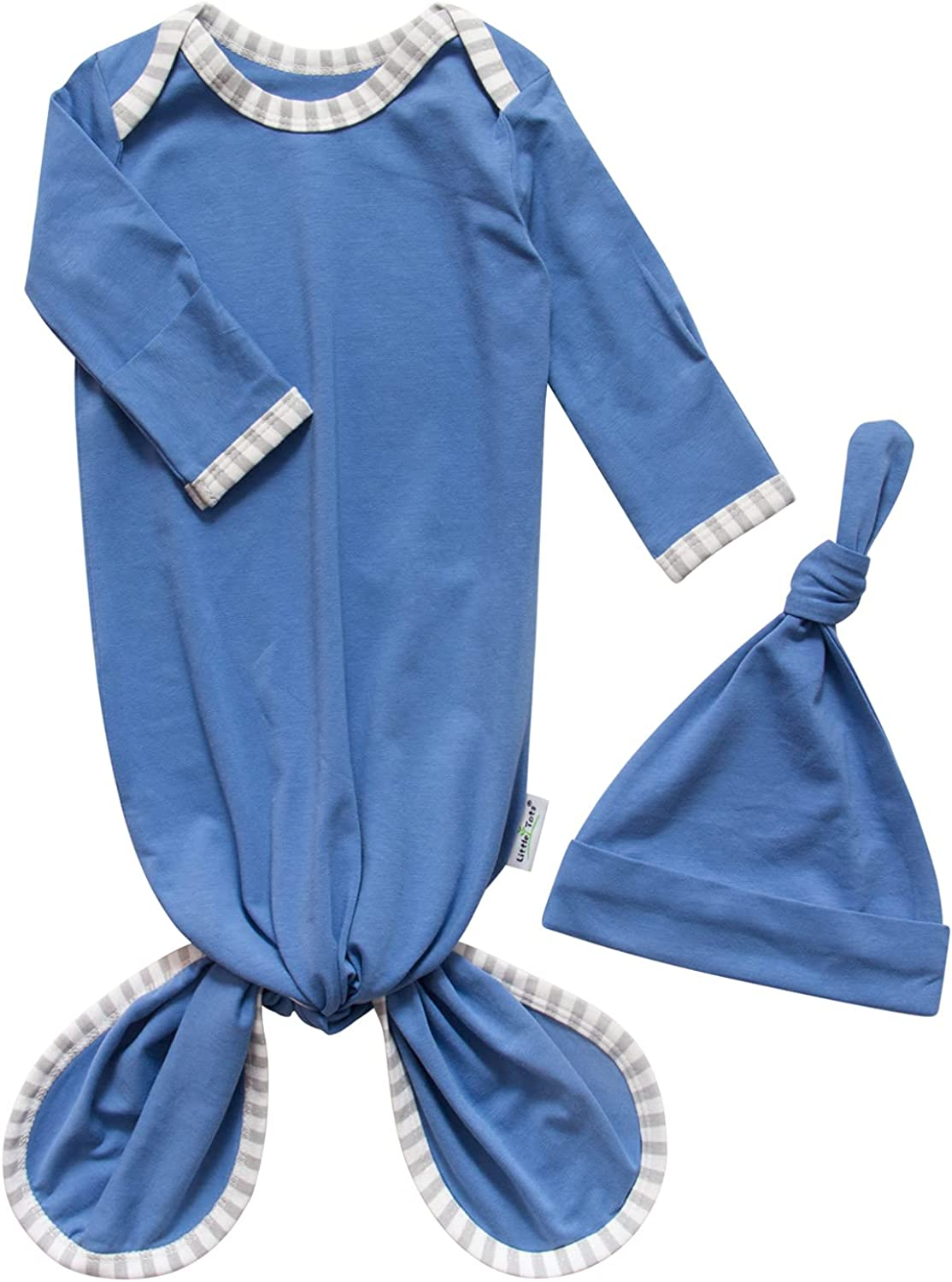 Baby Knotted Gown, Newborn Infant Long Sleeve Sleeper for Baby Girl Boy Swaddle Wear Cotton Nightgown Sleepwear with Hat Set