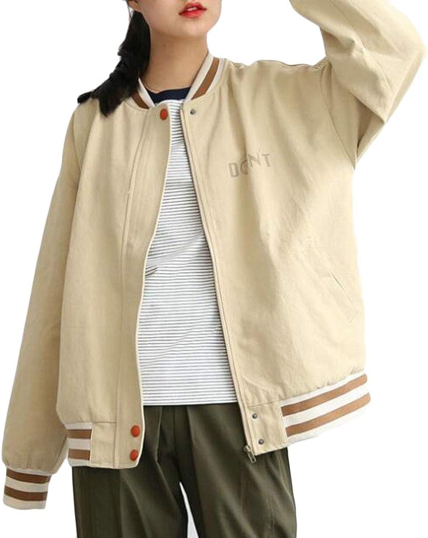 Etecredpow Women Autumn Outdoor Casual Print Loose Baseball Jacket Coats