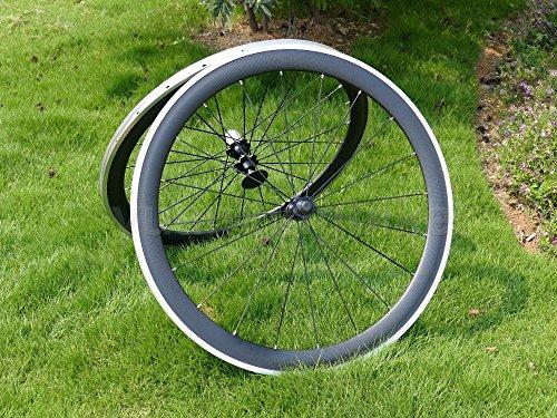 Full Carbon 3K brillante bicicleta de carretera Clincher Wheel Rim Side de freno de aleación de 50mm ancho 23mm Toray Llantas de carbono para Campagnolo