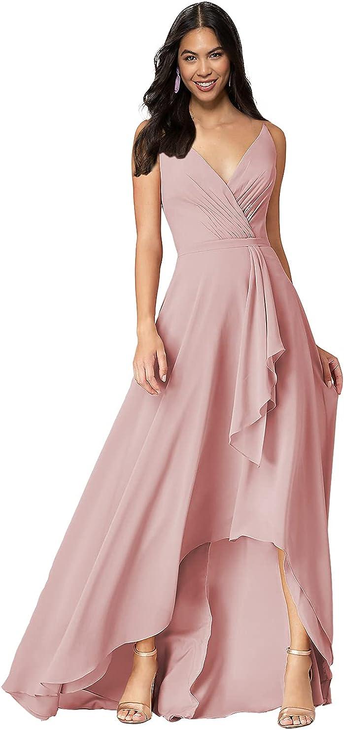 DFDG Ruched V Neck Chiffon Bridesmaid Dresses for Wedding Aline Hi-Lo Formal Dress with Pocket CM015